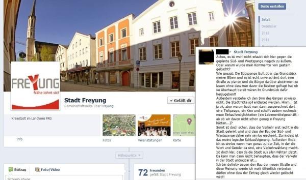 Screenshot Stadt Freyung FB