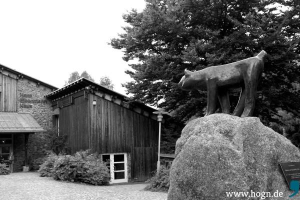 Noch bis zum 3. November stellen Theuerjahrs Freunde im Hans-Eisenmann-Haus aus. Bewacht wird das Nationalpark-Besucherzentrum von einer Luchs-Bronze des Künstlers.