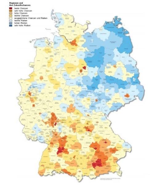 Der Zukunftsatlas: Je blauer, desto schlechter, je roter, desto besser. / Screenshot: prognos.com