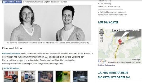 Text, Fotos und Video - als Moaktblotz-Partner hat man eine eigene, ansprechend gestaltete Firmenpräsenz auf hogn.de. Screenshot: da Hog'n