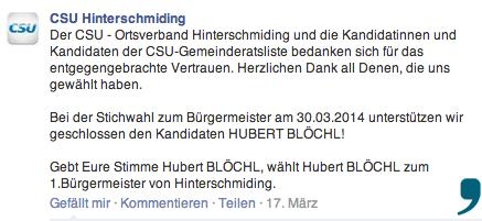 Bei Facebook hat sich die Hinterschmidinger CSU für den Kandidaten aus Herzogsreut ausgesprochen. Screenshot:facebook.de/Da Hog'n