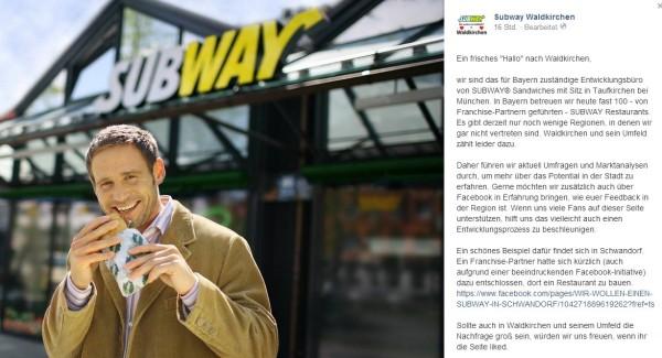 Mit diesem Post wirbt das zuständige Subway-Entwicklungsbüro für den Standort in Waldkirchen. Screenshot: facebook.com/da Hog'n