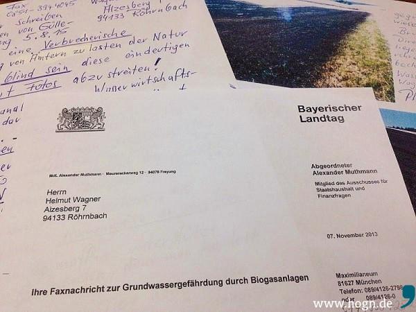 Weiterhin setzt Helmut Wagner sämtliche Hebel in Bewegung, um auf sein von der Gülle verschmutzes Wasser aufmerksam zu machen.