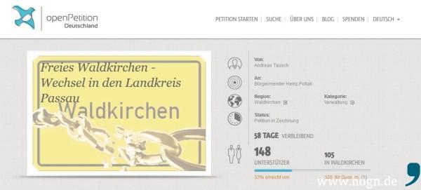 asdasd Wechselt Waldkirchen in den Landkreis Passau: 148 Unterstützer (Stand: Freitag, 8. Januar) konnte die Online-Petition von Andreas Tausch bisher für sich gewinnen.