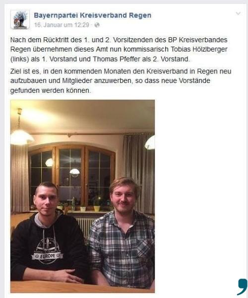Tobias Hölzlberger versuche nun gemeinsam mit dem zweiten, kommissarischen Vorsitzenden Thomas Pfeffer den Kreisverband wieder aufzubauen. Screenshot: Bayernpartei-Facebook-Seite KV Regen.