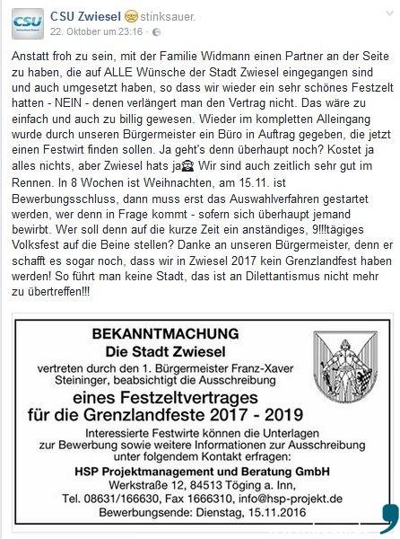 ...mit der Umsetzung des Beschlusses ist aber die CSU Zwiesel mit Stefan Schmidt alles andere als einverstanden, was die Partei auf ihrer Facebook-Seite deutlich macht. (Vergrößerung bei Klick). Screenshot: facebook.com/ da Hog'n
