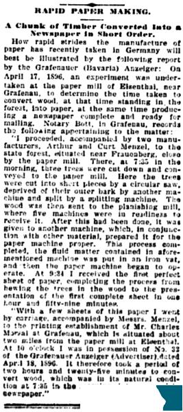 """Auch """"Omaha Daily Bee"""" (Nebraska) berichtet 1896 vom """"Rapid Paper Making"""" aus dem fernen Grafenau - diesmal für die Leser in englischer Sprache."""