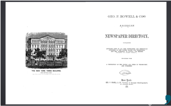 Aus der ersten Ausgabe des American Newspaper Directory für das Jahr 1869.