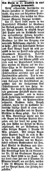 """Der Deutsche Correspondent berichtete am 30. Mai 1896 über ein """"Probestückchen"""" aus dem fernen Grafenau im Bayerischen Wald."""