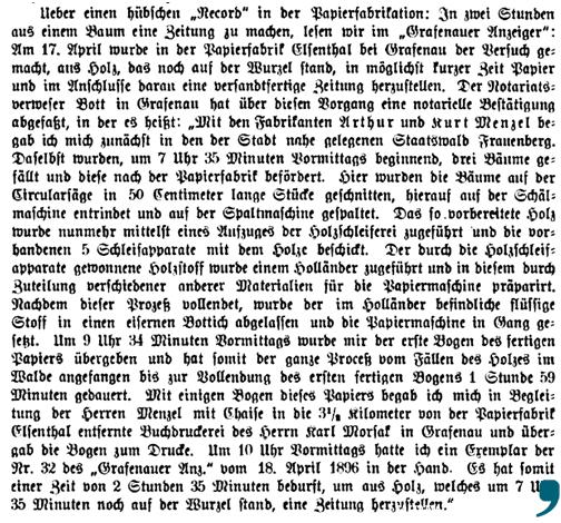 """Ein weiterer Bericht über den """"hübschen 'Record' in der Papierfabrikation"""", erschienen in der Fachzeitschrift Buchhändler-Akademie, 1896, Band VIII."""